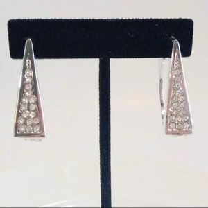 Silvertone Clear Rhinestone Square Earrings